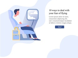 Man sitting at the airplane and looking at the window. 10 ways to deal with fear of flying. Website article concept