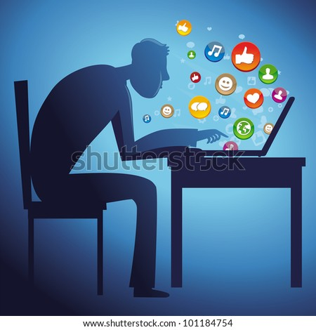 man sitting at the table with laptop - social network concept - vector