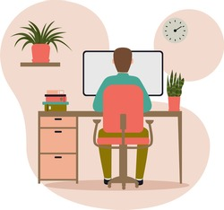 man sitting behind a computer icon vector, human development , workplace concept, student working at laptop, comfortable working conditions