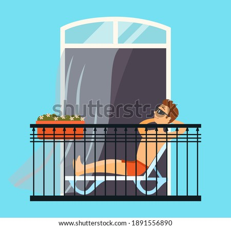 Man sitting chaise lounge relaxing on the balcony, tans in swimming trunks in the sun, comfort home pastime vector illustration. Repose at home in the evening after a hard day lying in a chair Photo stock ©