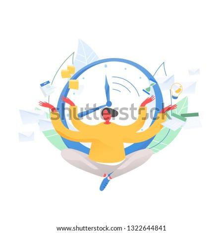 Man sitting cross legged and meditating against clock face, timetable, hourglass, calendar on background. Time management, work planning and organization, multitasking. Flat vector illustration.