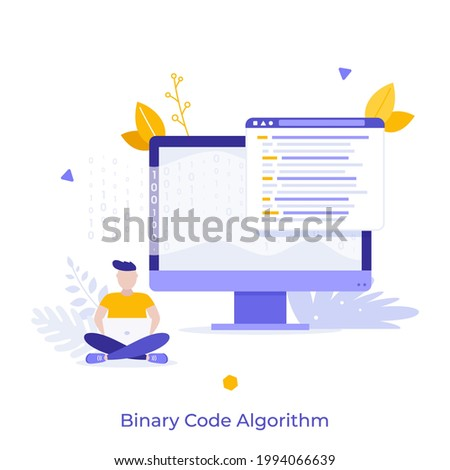 Man sitting cross-legged and working on laptop, computer display, zero and one symbols. Concept of binary code algorithm, encoding data, software development. Flat vector illustration for banner. Stock foto ©