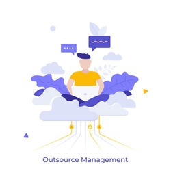 Man sitting cross-legged on cloud and working on laptop computer. Concept of professional outsourcing, outsourced management function or operation. Modern flat colorful vector illustration for banner.