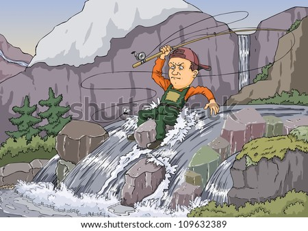 Man sitting in a mountain stream and fishing