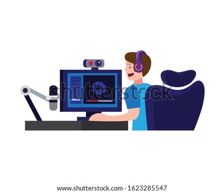 man sitting in headset making