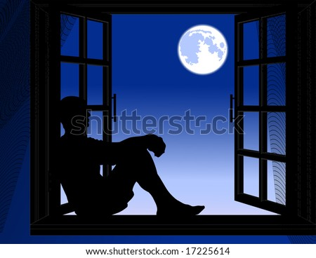 Man sitting in the night, vector illustration, EPS file included