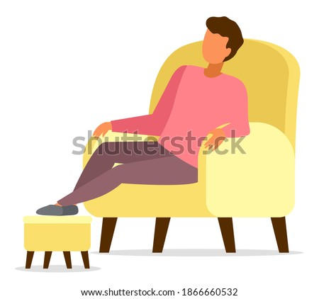 Man sitting in yellow armchair relaxing, put his feet on a special soft padded stool stand, comfort home pastime vector illustration. Repose at home in the evening after a hard day lying in a chair Photo stock ©