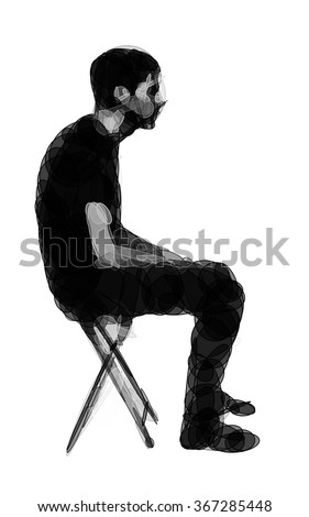 man sitting on a chair in bad
