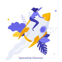 man sitting on flying rocket, spaceship or spacecraft. Concept of space exploration, discovery, interstellar travel, trip or journey, startup company launch. Modern flat colorful vector illustration.