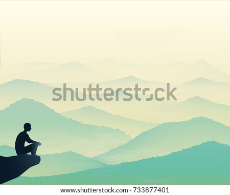 man sitting on the rock and looking at the tranquil hills, vista landscape, early morning in mountains, vector