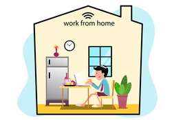 man sitting to work at home with food and snack behind laptop. concept quarantine from virus at home.