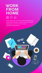 Man sitting work computer from home, top view leaflet poster design colorful background, vector illustration