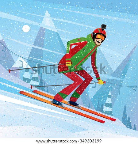 Man skiing with action camera on his head - fun or entertainment concept. Vector illustration Stock photo ©