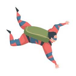 Man Skydiver Doing Freefall Jump, Person Jumping with Parachute in Sky, Skydiving Parachuting Extreme Sport Cartoon Style Vector Illustration
