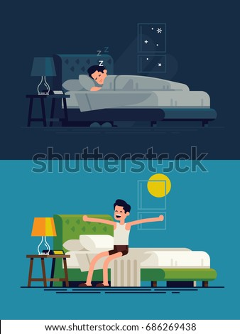 Man sleeping at night and waking up in the morning. Flat vector illustration on man resting in his bedroom and stretching sitting on his bed after getting up
