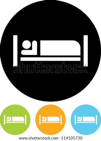 Man sleeping in bed at Motel - Vector icon isolated - stock vector