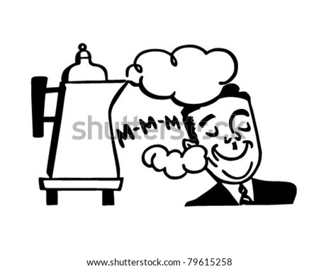 Man Smelling Fresh Coffee - Retro Clipart Illustration