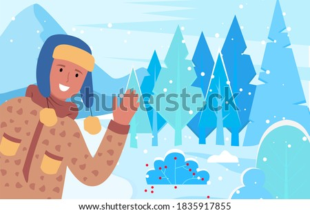 man smile and greet winter