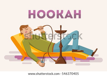 man smoking hookah flat vector