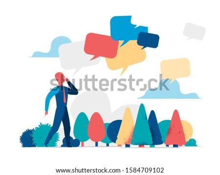Man spreading news, messages, communicator, messenger - Vector