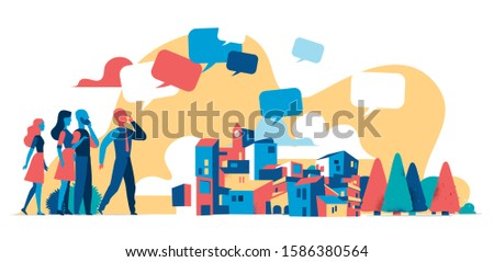 Man spreading news, messages in the city, communicator, messenger, announcer - Vector