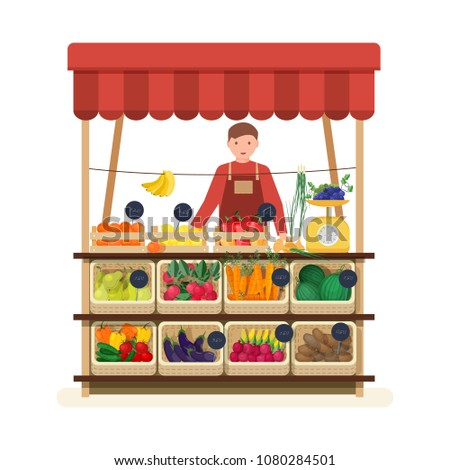 Man standing at counter of greengrocer's shop or marketplace and selling fruits and vegetables. Male seller at place for selling food products on local farmers' market. Flat vector illustration
