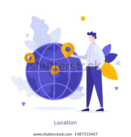 Man standing beside globe with map pins on it. Concept of geographic location, choice of travel destination, trip or journey planning, world navigation. Modern flat colorful vector illustration.