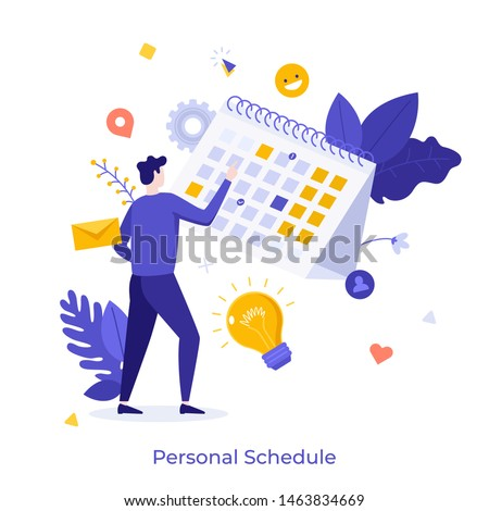 Man standing in front of calendar or planner and managing his personal schedule or timetable. Concept for time management, effective planning, scheduling. Modern flat cartoon vector illustration.