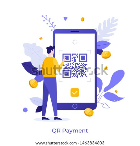 Man standing in front of mobile phone and touching screen with QR barcode. Concept of Quick Response Code, instant electronic payment service with data encoding technology. Flat vector illustration.