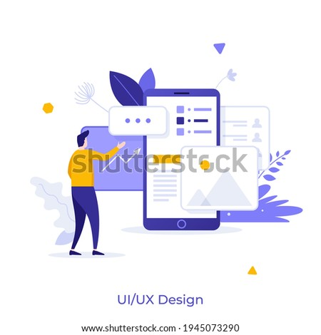 Man standing in front of smartphone with website on screen. Concept of UI or UX design, user experience, touchscreen interface for mobile devices. Modern flat vector illustration for poster, banner.