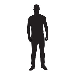 Man standing in t-shirt and jeans, isolated vector silhouette. Front view