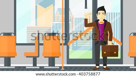 man standing inside public