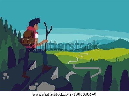 Man standing on cliff overlooking road ahead. Quality flat design vector illustration on goals, perspectives and victories with male character standing on mountain top with green valley beneath him