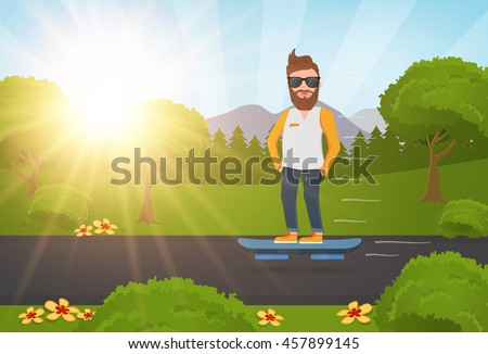 man standing on hoverboard  guy