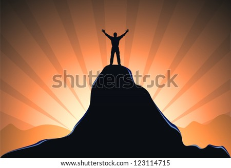 man standing on the top of mountain