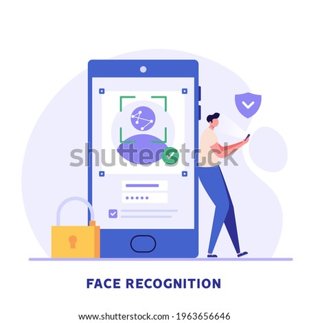 Man standing with a phone, identifies a face. Concept of facial recognition, face ID system, biometric identification. Vector Illustration in flat design for mobile app Stockfoto ©