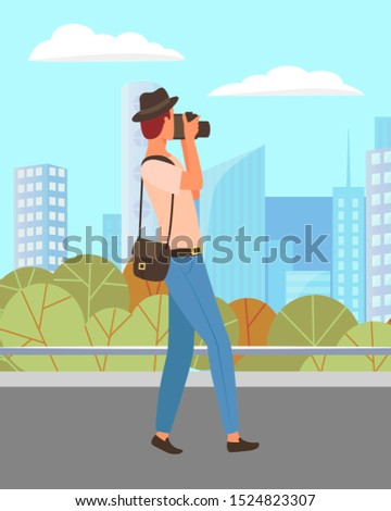 Man standing with camera in hands in urban summer park. Person photographer shooting, photographing pictures. Beautiful landscape on background with skyscrapers. Vector illustration in flat style