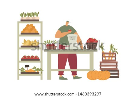 Man stands behind counter with weights and sells tomatoes. Street market with seller. Sale of vegetables at farmers market. Theme of vegetarianism and healthy eating. Trendy flat vector illustration.