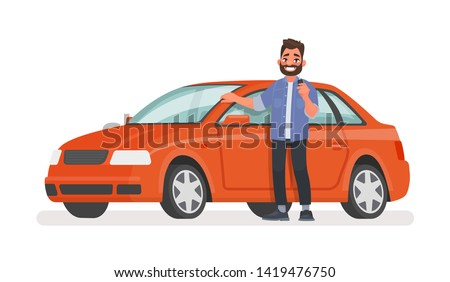 Man stands next to a new car and holds a key in his hand. Happy vehicle owner in white background. Buying a automobile. Vector illustration in cartoon style