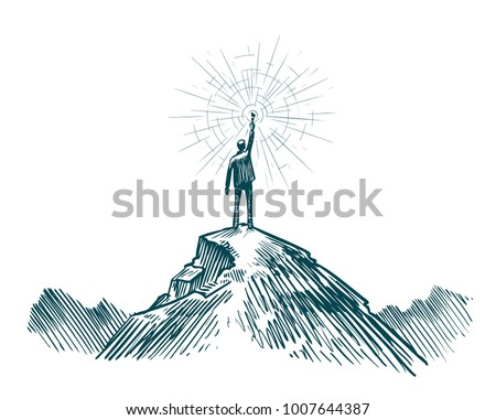 Man stands on top of mountain with torch in hand. Business, achieving goal, success, discovery concept. Sketch vector illustration
