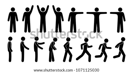 man stands talking and running, stick figure different poses, set of isolated pictograms of human silhouettes, simple icons, body man gestures