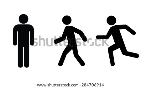 man stands   walk and run icon