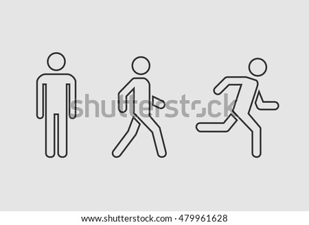 Man stands, walk and run icon set . People outline symbol . Vector illustration