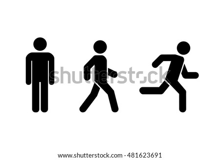 Man stands, walk and run icon set . People symbol . Vector illustration