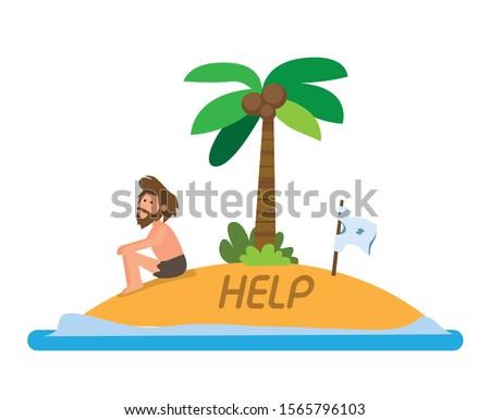 man stranded in island flat