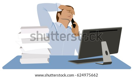 Man stressed. Overworked office worker. Tired manager sits at the desk and talks to the client on the mobile phone isolated on white background vector illustration.