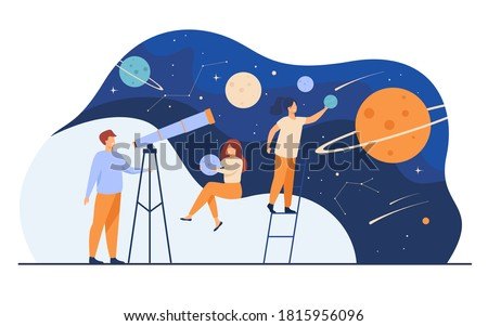 Man studying galaxy through telescope. Women holding planets models, watching meteors and constellation of stars. Flat vector illustration for horoscope, astronomy, discovery, astrology concepts Foto d'archivio ©