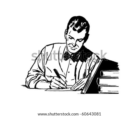 Man Studying - Retro Clip Art