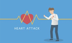 Man suffering a heart attack symptoms,he have feel chest pain,Heart beat signal,Discomfort and Difficulty breathing,Nausea and cold sweats,Should be examined by a cardiologist, vector illustration.