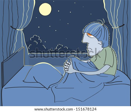 Man suffers from insomnia in his bed.Vector room in dark night